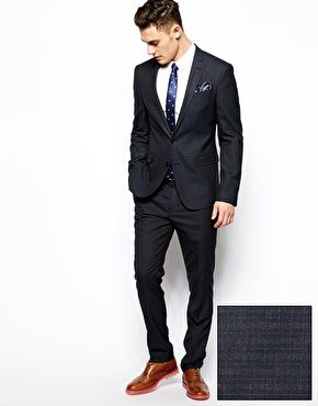 Slim Fit Men Suit Tuxedo Black 2 Button Flat Front Pants Slim ...