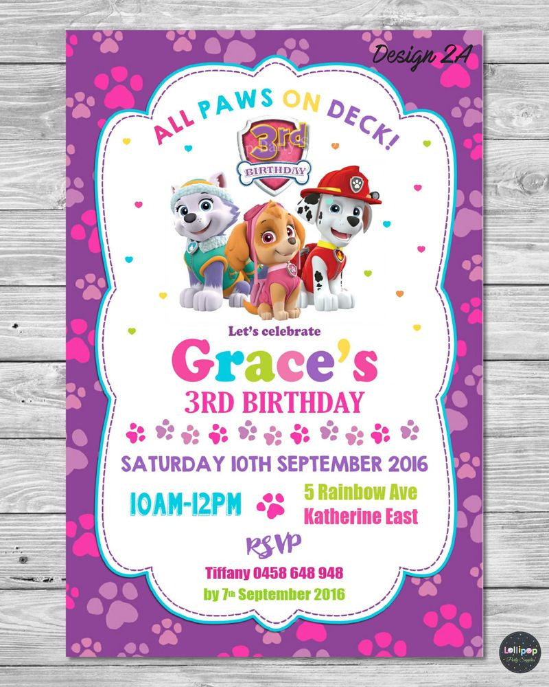 PAW PATROL GIRL INVITATION INVITE BIRTHDAY PARTY CARD PERSONALISED PINK SKYE CUSTOMINVITATION Birthday