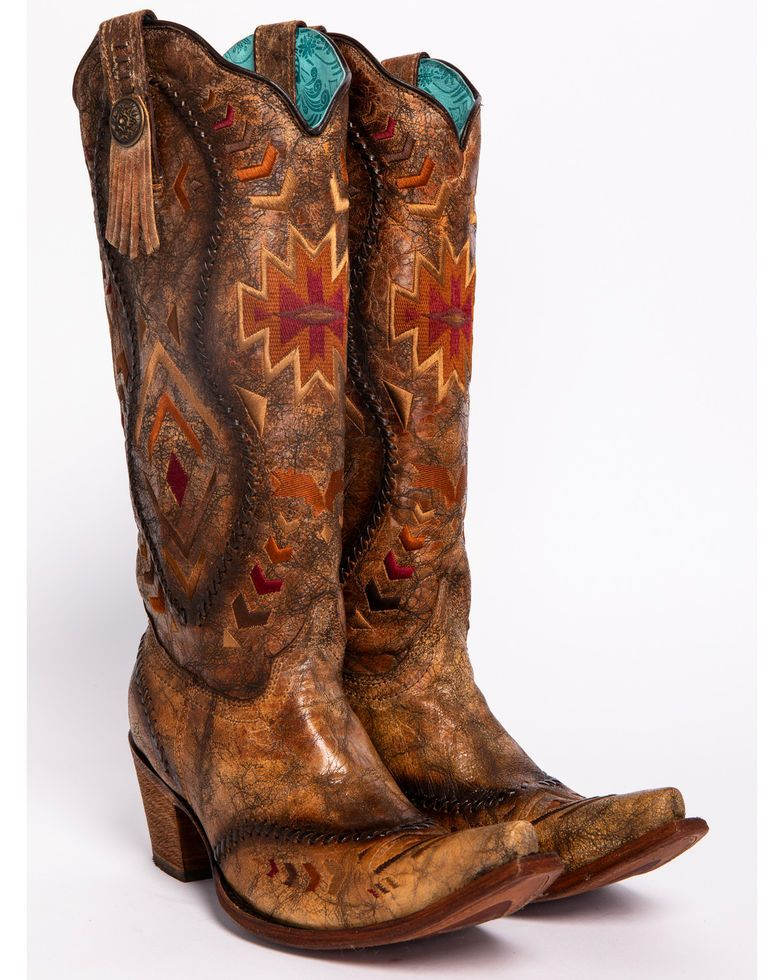 22e3b6dcc16 Corral Aztec Embroidered Whipstitched Cowgirl Boots - Snip Toe in ...