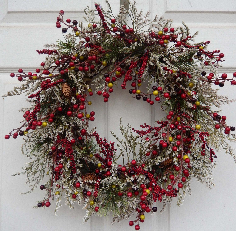 Christmas Wreath , Holiday Christmas Wreath ,  Berries Wreath , Winter Wreath , Holiday Door Wreath , by forevermore1 on Etsy https://www.etsy.com/listing/84729773/christmas-wreath-holiday-christmas