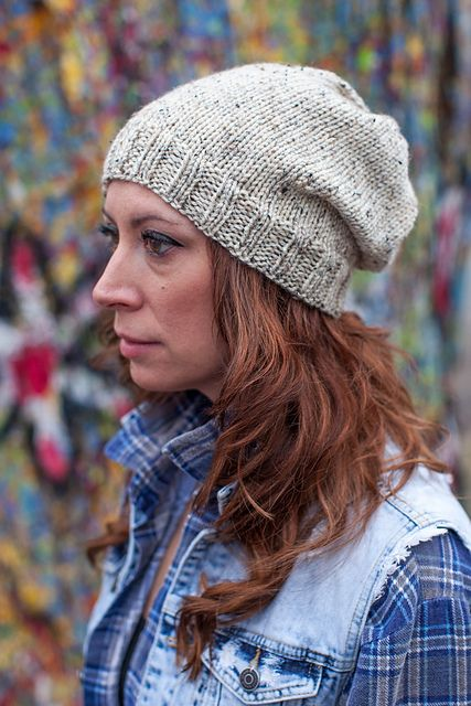 Simple and classic, this stockinette cap can be worn slouchy or with ...