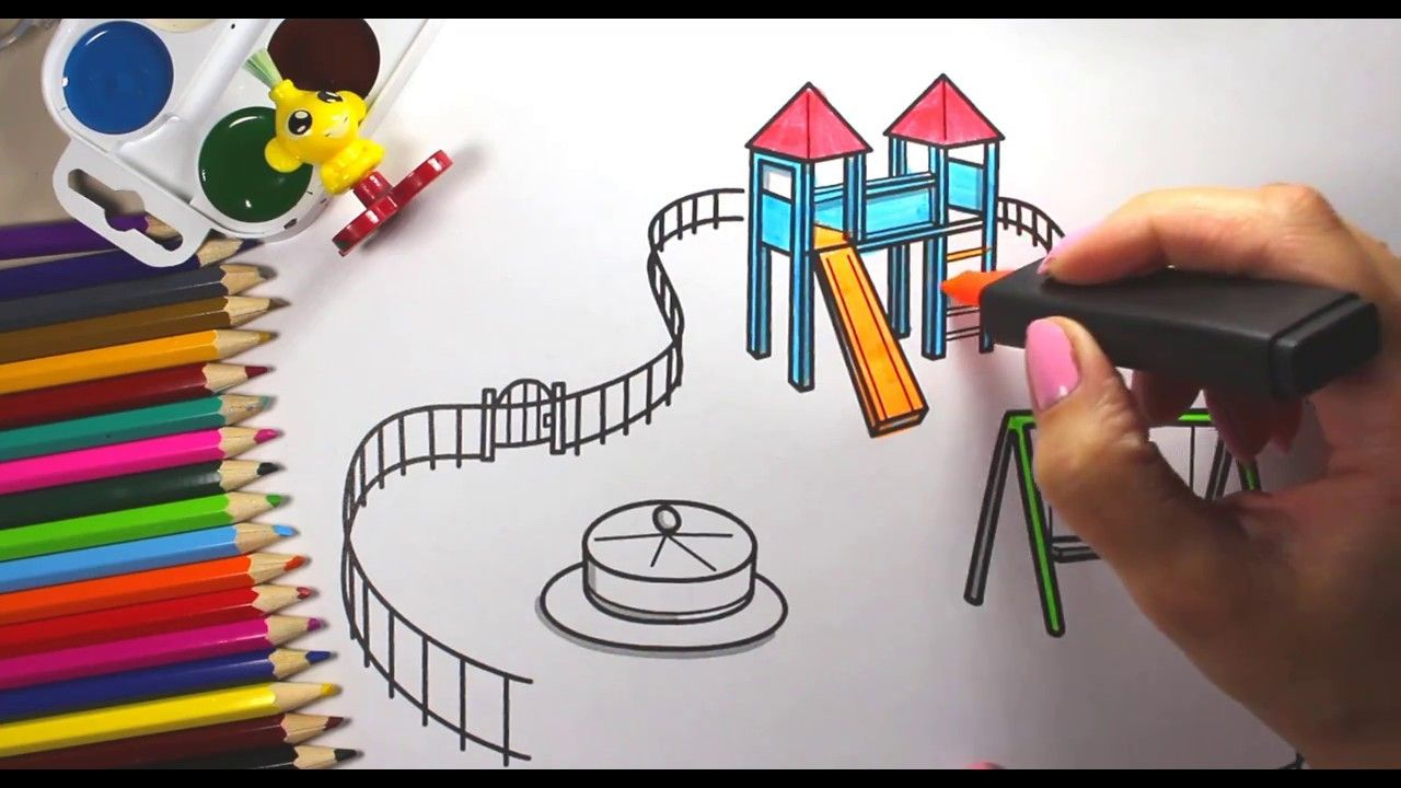 Coloring book page of a playground - How To Draw Playground For Kids Playground For Children Coloring Co
