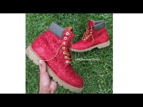 d5cf4a0f4c48 HOW-TO GLITTER Timberland Boots using Angelus Glitterlites paint! - YouTube