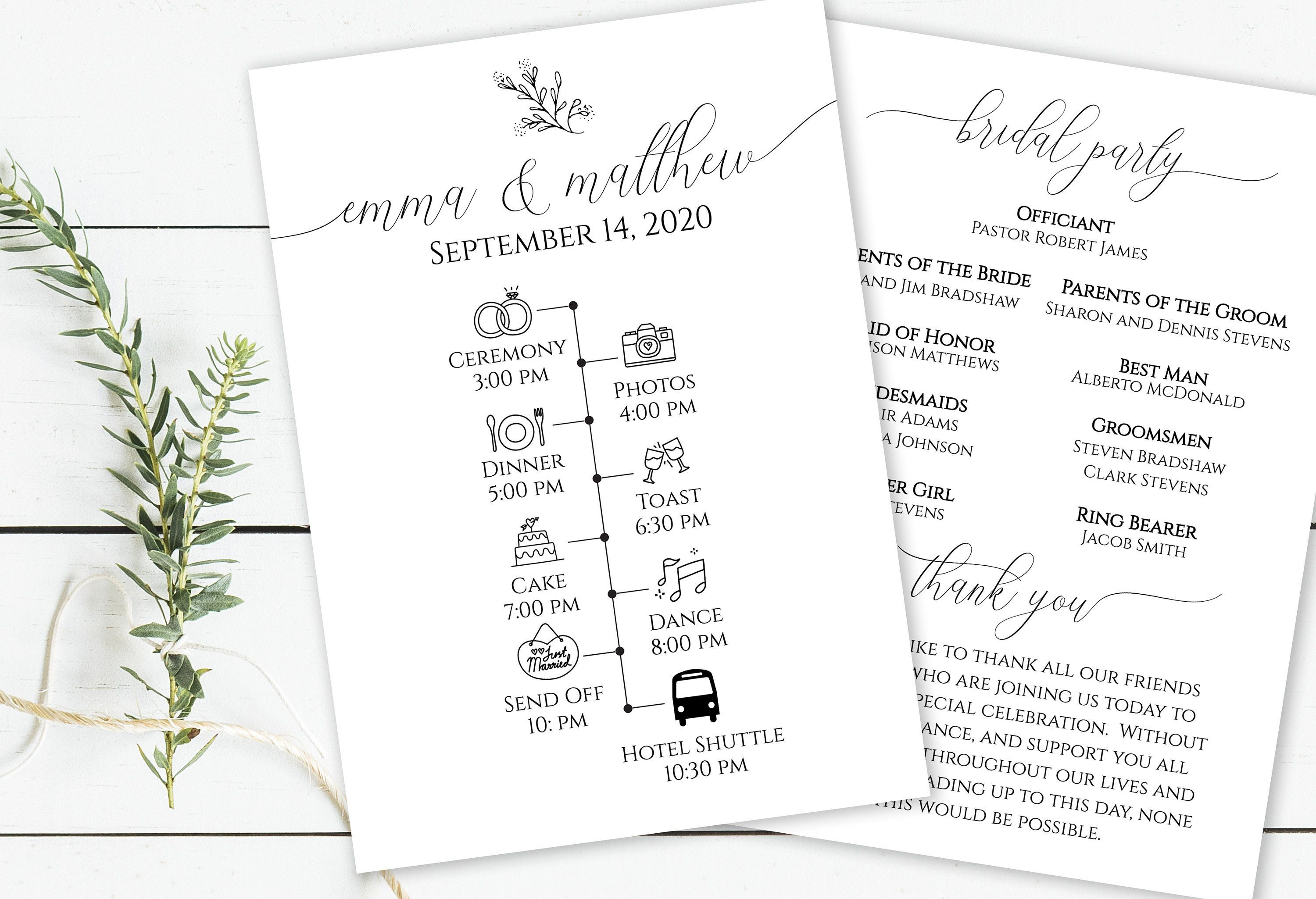 Wedding Day Timeline & Program, Printable Wedding Day