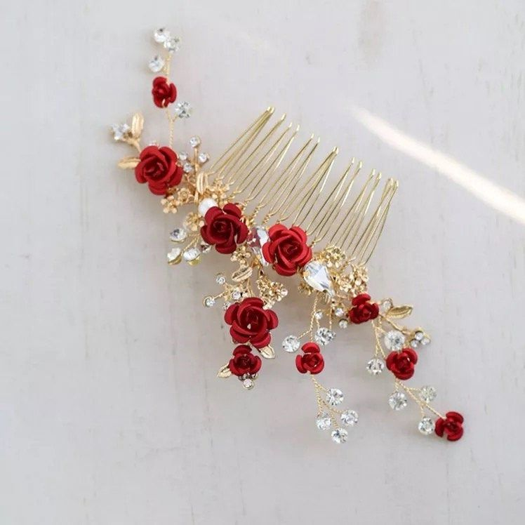 Red Rose Floral Headpiece For Women Prom Rhinestone Bridal Hair Comb Accessories Handmade Wedding Hair Jewelry, bridal headpiece,haircomb
