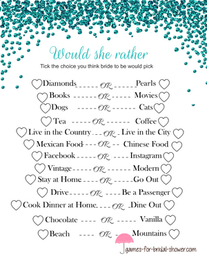 Free Printable Would She Rather Bridal Shower Game