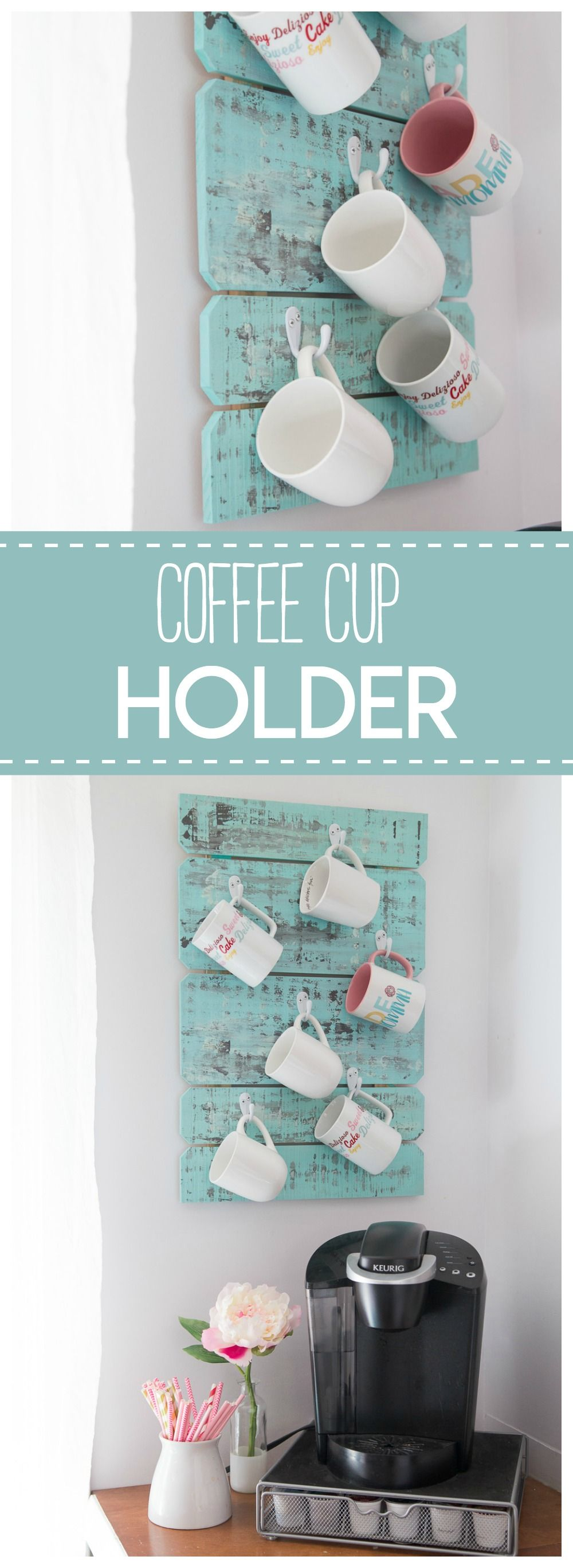 This coffee cup holder is a simple & pretty diy project to organize your  coffee mugs