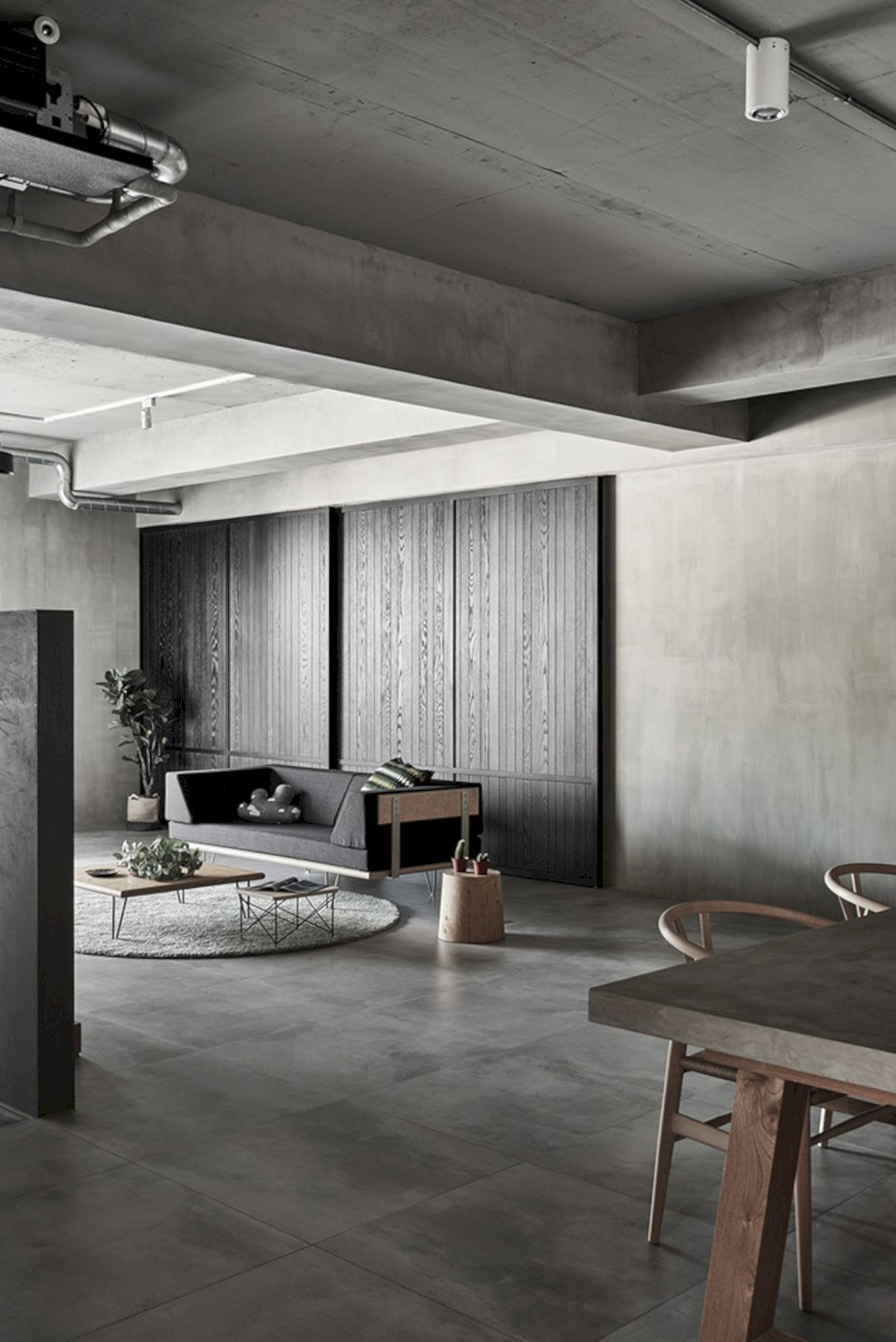 Gentle Heart of Steel: A Family Residence with Industrial Interior and Colorless Gray Style