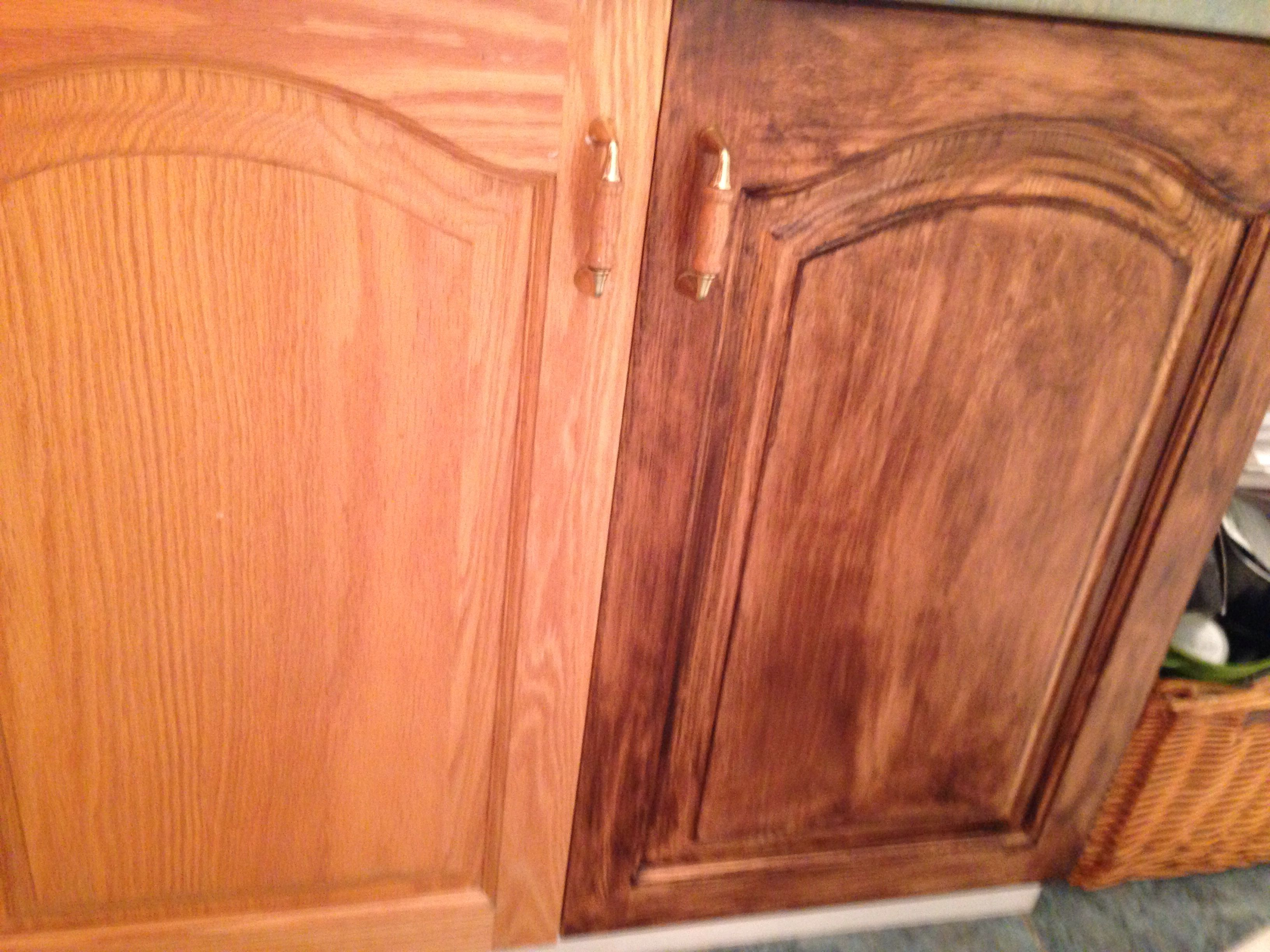 Old Oak Cabinet On Left And Stained With Minwax Gel Stain Color Chestnut Interiorpaintcolorssc Painting Oak Cabinets Kitchen Cabinet Colors Staining Cabinets