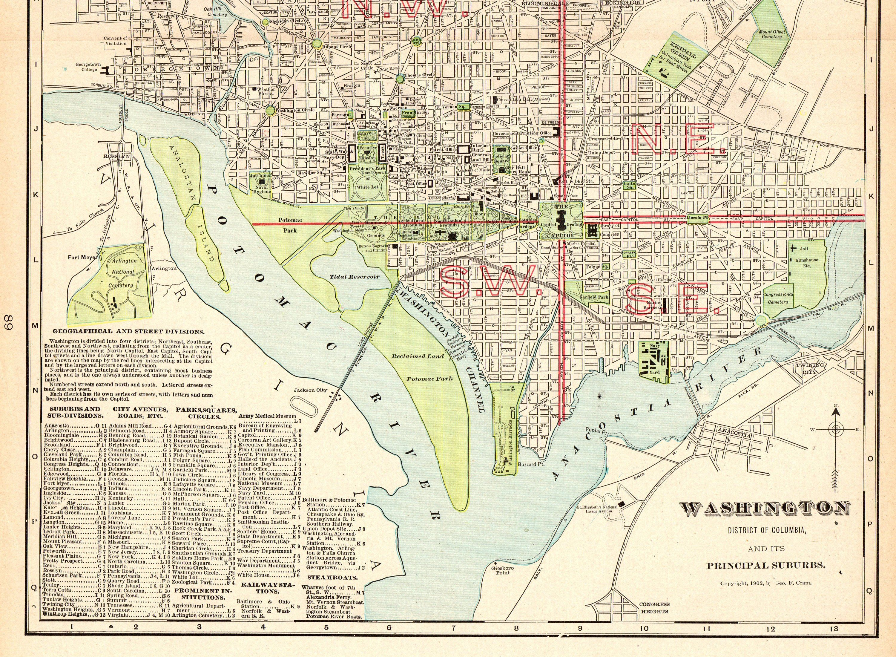 picture relating to Washington Dc Printable Map referred to as 1906 Antique WASHINGTON DC Map Typical Metropolis Map of