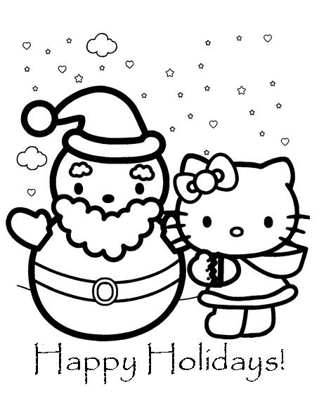 Hello Kitty For Christmas Coloriage Noel Coloriage Hello Kitty Coloriage