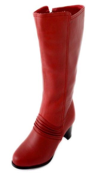 Wow! BRIGHT RED wide calf leather boots