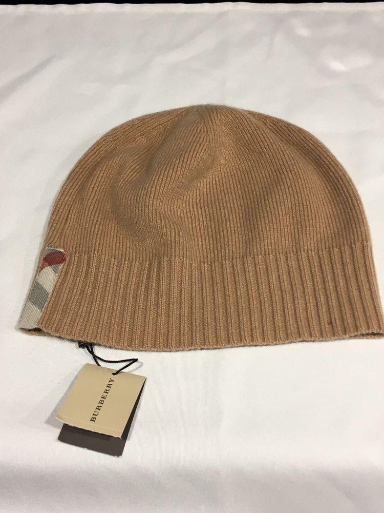 fce90a14 BURBERRY Auth. 100% Cashmere Beanie Hat Cap Unisex Tan w/Nova Check ...