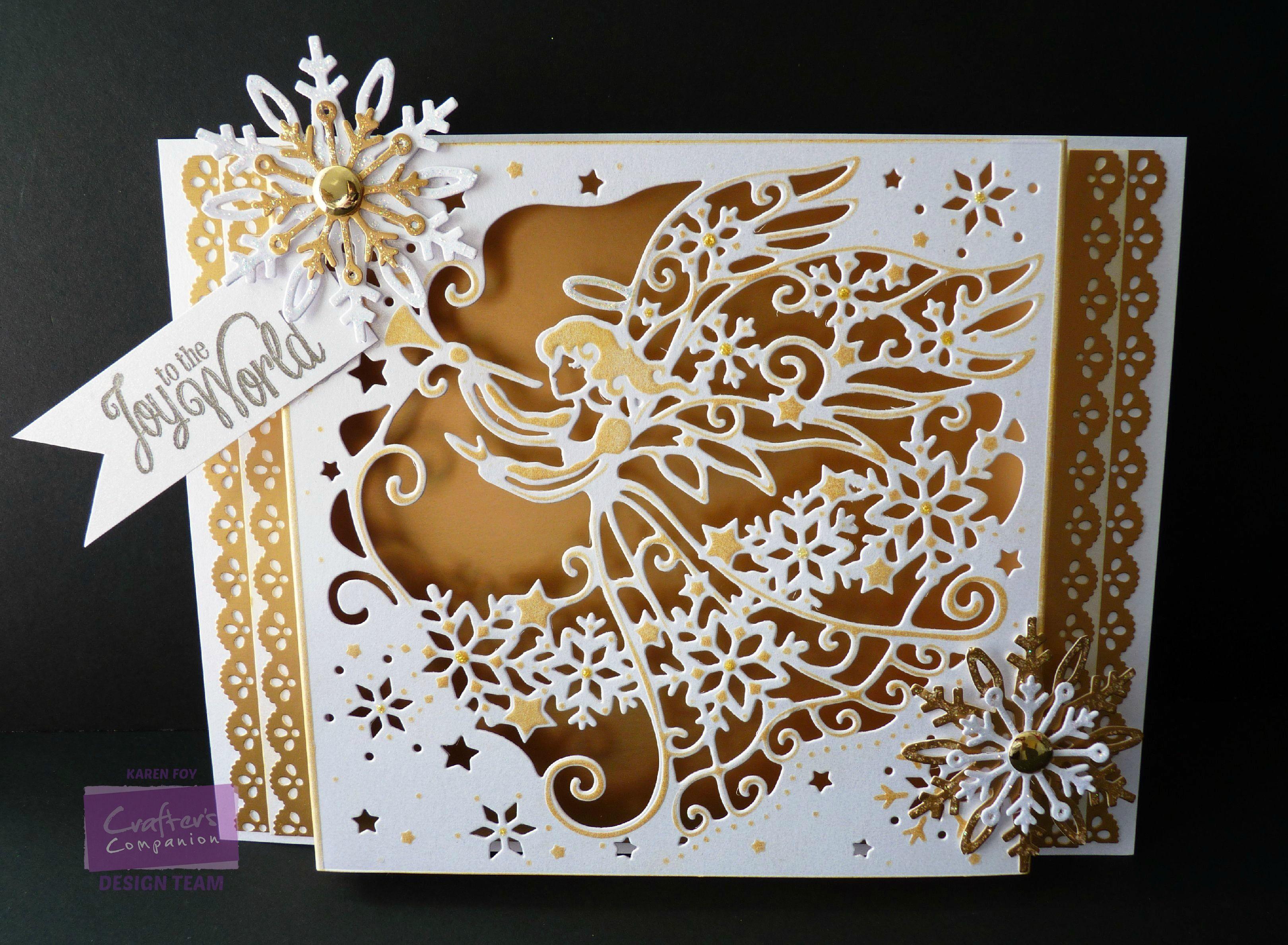 Karen Foy -  Angel Create-a- Card Die - Centura Pearl Card Gold card, Die'sire Snowflake Die, Distress Inks, Glitter, Gems, Sentiment - #crafterscompanion #Christmas
