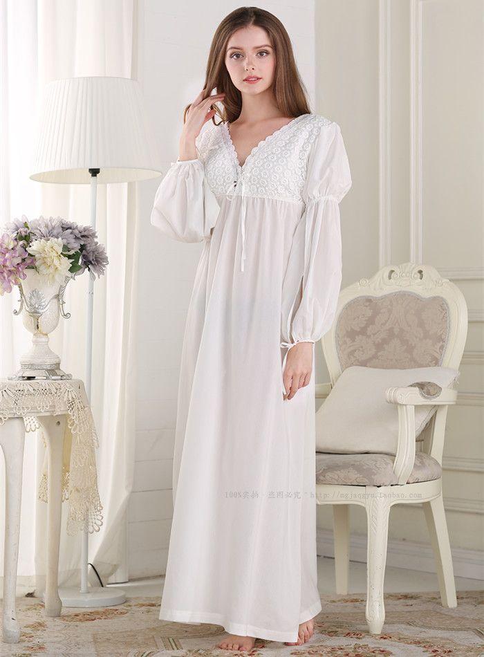 Free Shipping 100% Cotton Princess Pijamas Long White Nightdress Women s  Nightgown Sleepwear Autumn pijama feminino 6d604032a