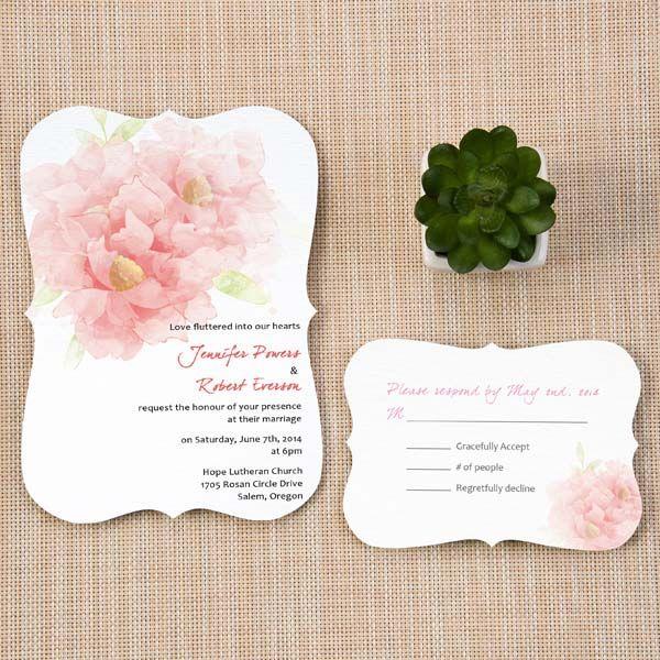 Trendy Wedding Invitation Cards: Trendy Blush Pink Flower Wedding Invitation Cards With
