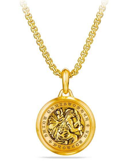 David Yurman Men S 26 5mm 18k Gold St Christopher Amulet David Yurman Mens Gold St Christopher Necklace