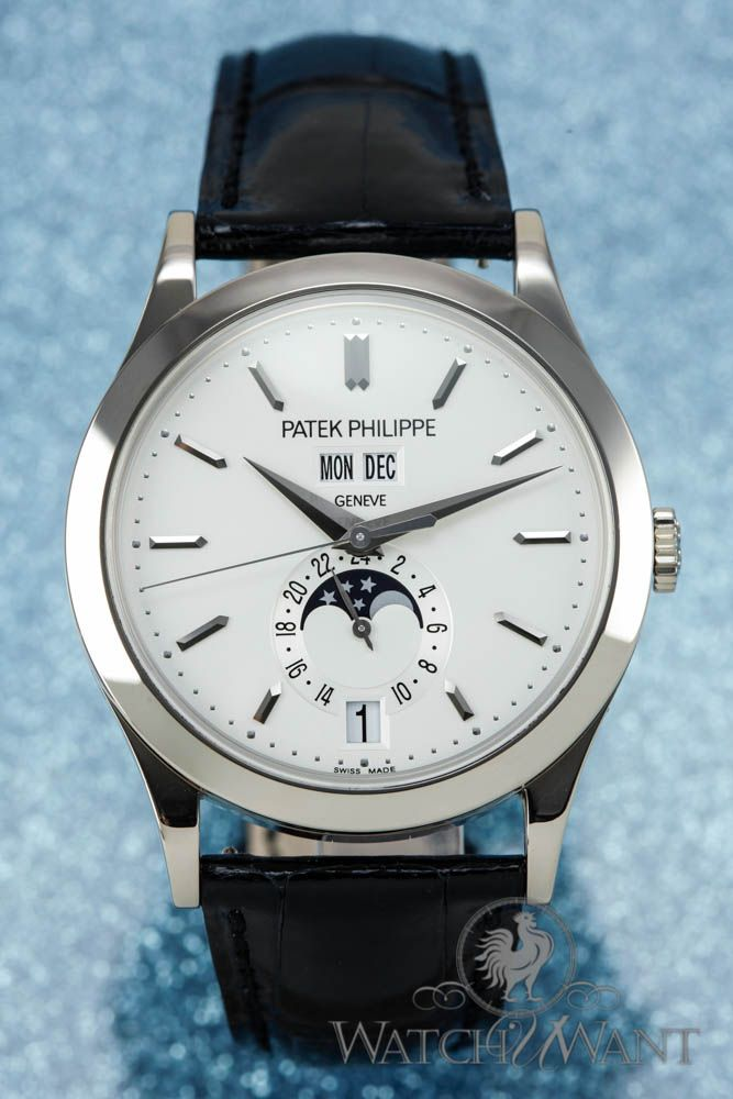Patek philippe annual calendar moonphase 38mm 18k white gold ref 5396g boxes papers 100 for Patek philippe moonphase