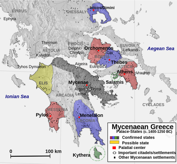 Political Map of Mycenaean Greece 14001250 BC Pinteres