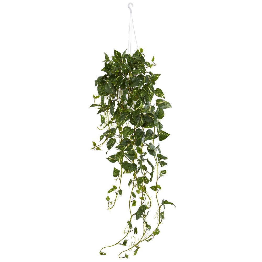 Nearly Natural Pothos Hanging Basket Artificial Plant Hanging Plants Outdoor Hanging Plants Artificial Plants