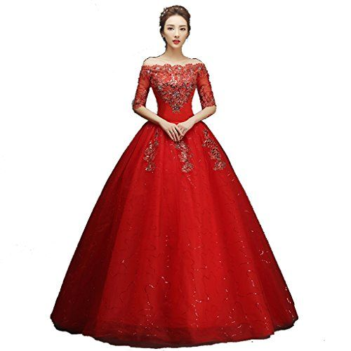 Lamya Red Wedding Dress Half Sleeve Off Shoulder Bridal Ball Gown Boat Neck *** Check out the image by visiting the link.