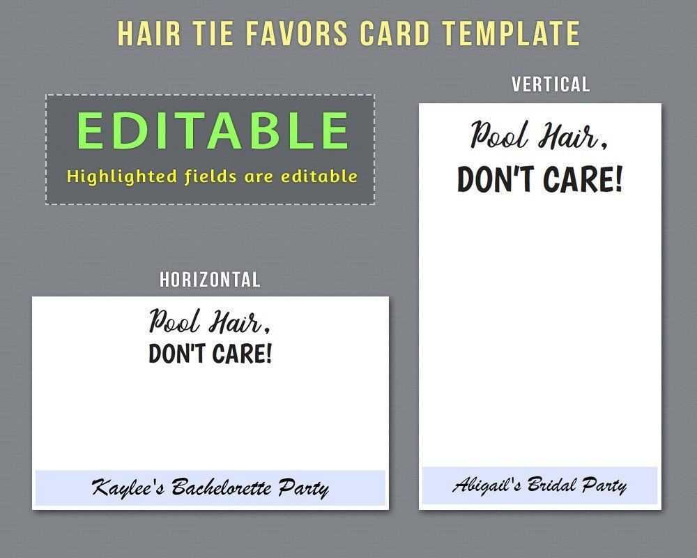 Editable Hair Tie Favors Card Template To Have And To Hold Your