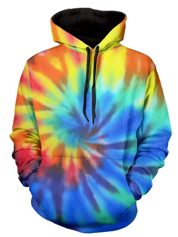 4b22f7b5cd04 Drawstring Rainbow Tie Dye Long Sleeve Hoodie Clothes Type  Hoodie  Occasion  Daily Use Style