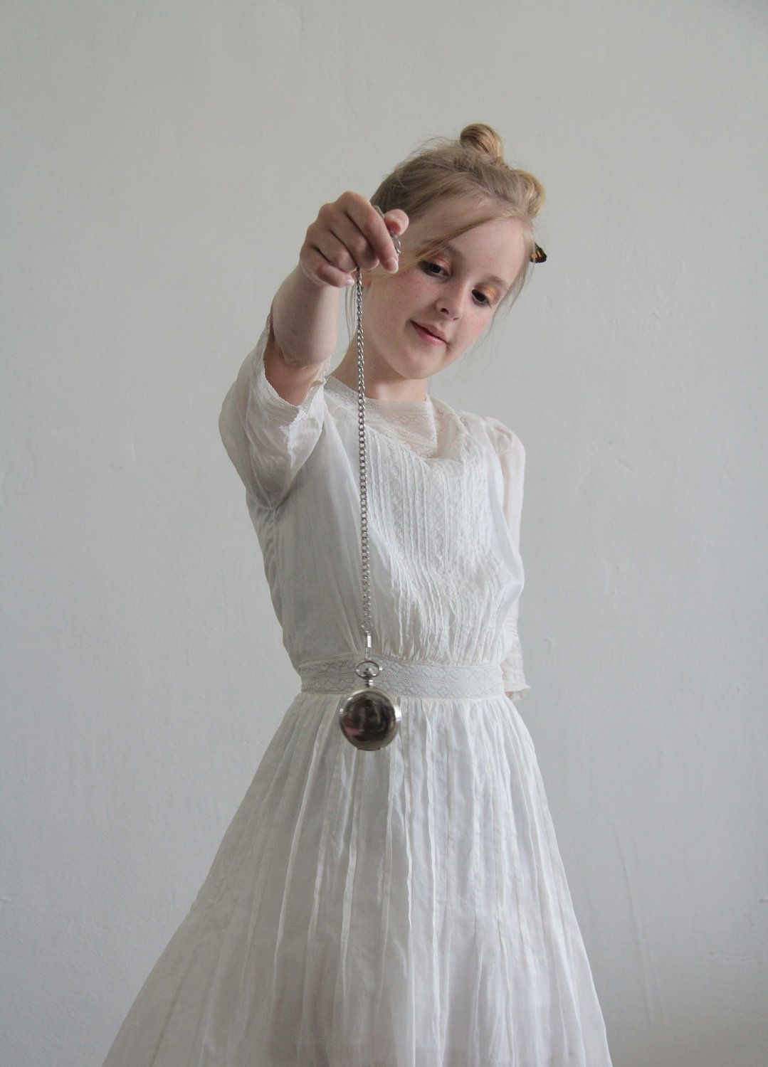 e6a697a7fd70 Antique Girls Dress . Edwardian Era White Cotton and Lace Gown . Childrens  . Flower Girl.  175.00