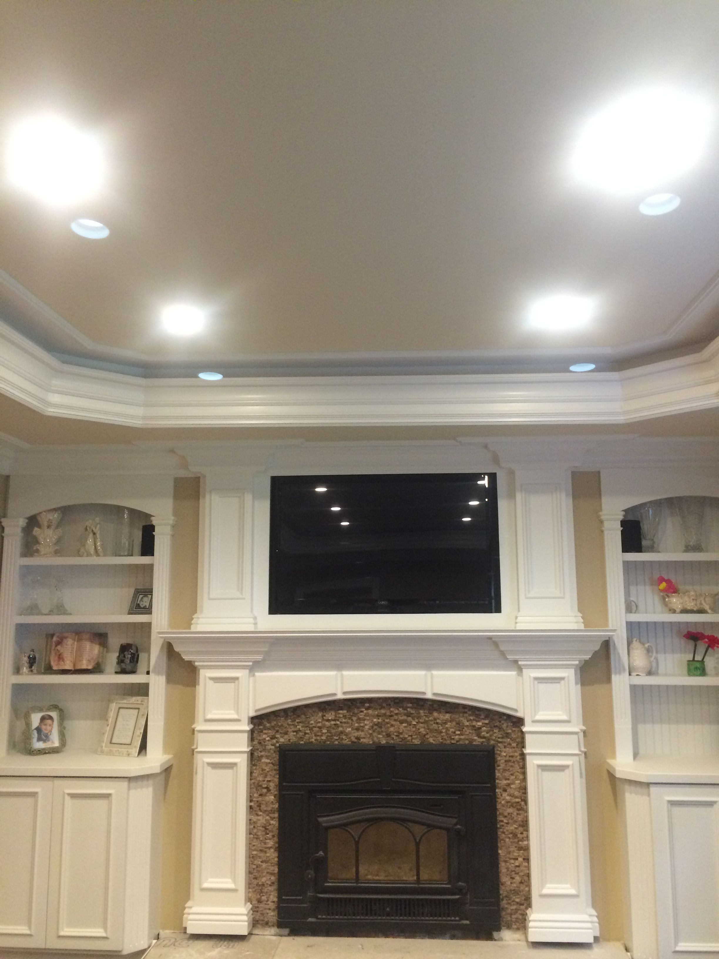 Custom Mantel, Tray Ceiling, Home Theater, Moldings, Built Ins, Fireplace