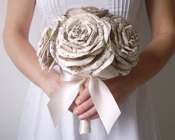 Sheet Music Rose Bridal Bouquet Ivory Paper Wedding Flowers Made