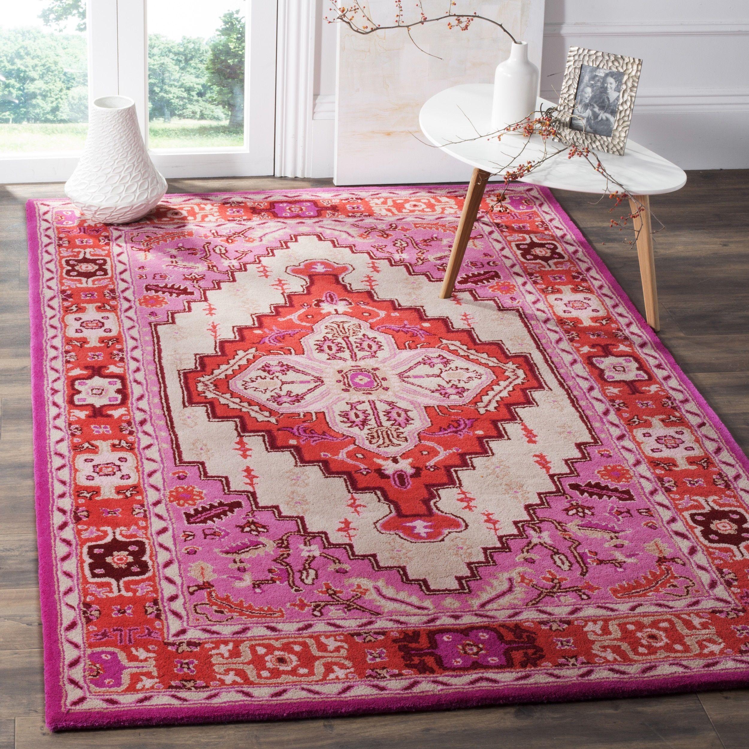 Safavieh Bellagio Handmade Bohemian Red Pink/ Ivory Wool Rug (6' x 9') (BLG545A-6), Size 6' x 9' (Viscose, Geometric)