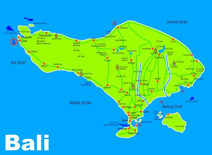 Bali sightseeing map Maps Pinterest Indonesia
