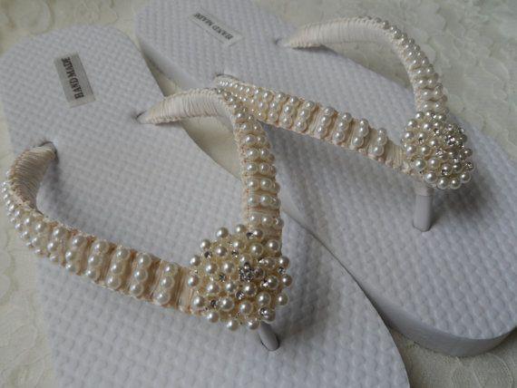 Elfenbein Perlen Flip Flops Hochzeit Sandalen Perlen Strass Flip