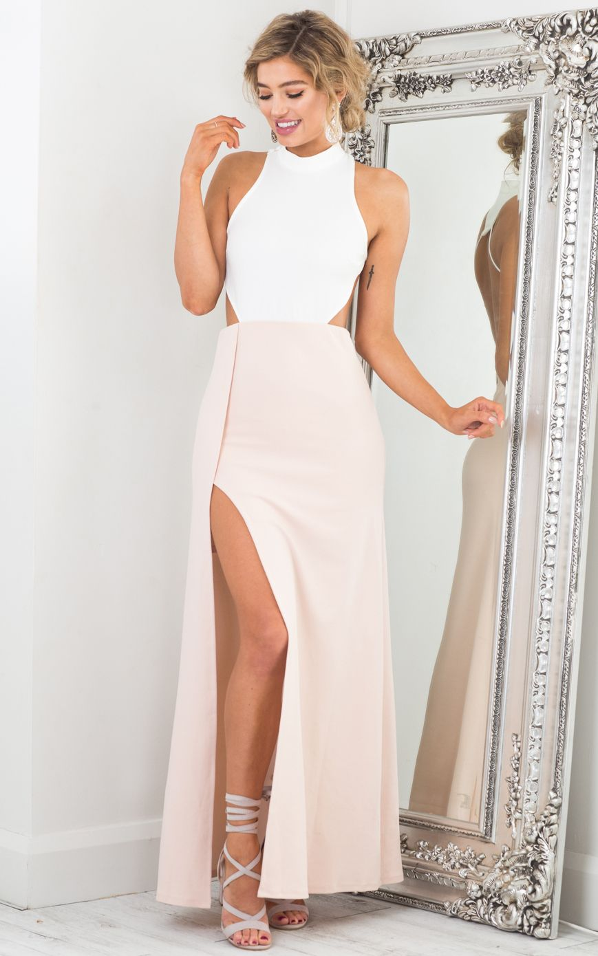 Back out maxi dress in white and blush pinterest maxi dresses
