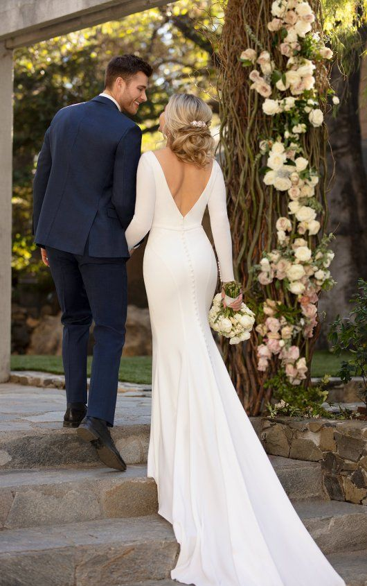 Photo of Simple and Sleek Long-Sleeved Sheath Wedding Dress –