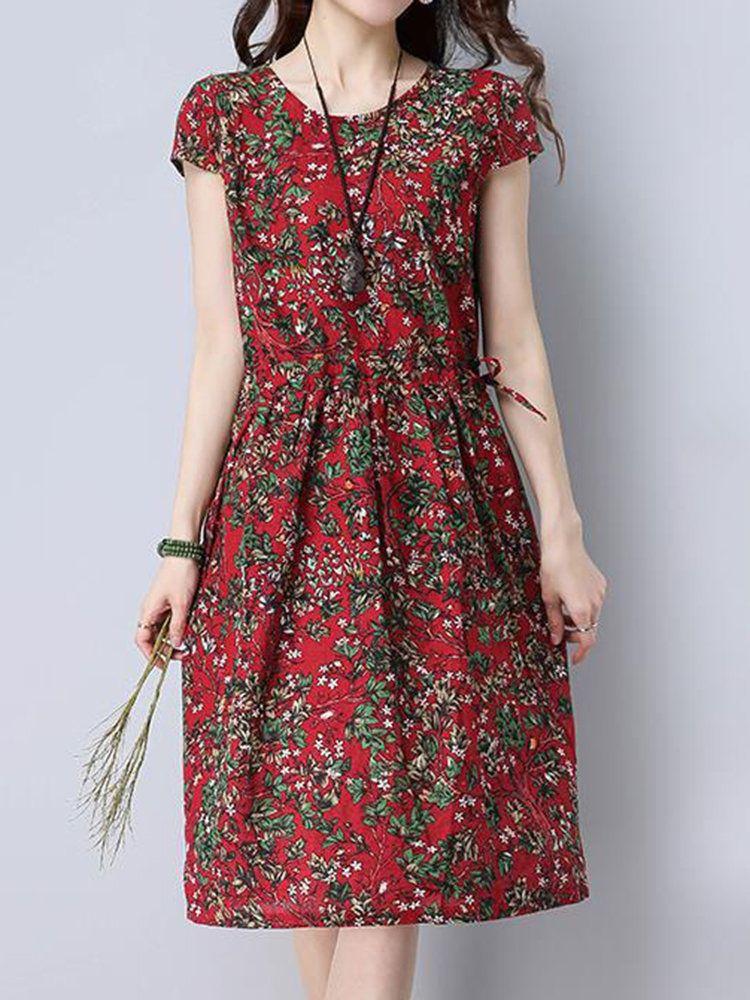 Vintage Women High Waist Floral Printed Short Sleeve Dresses – Audrey