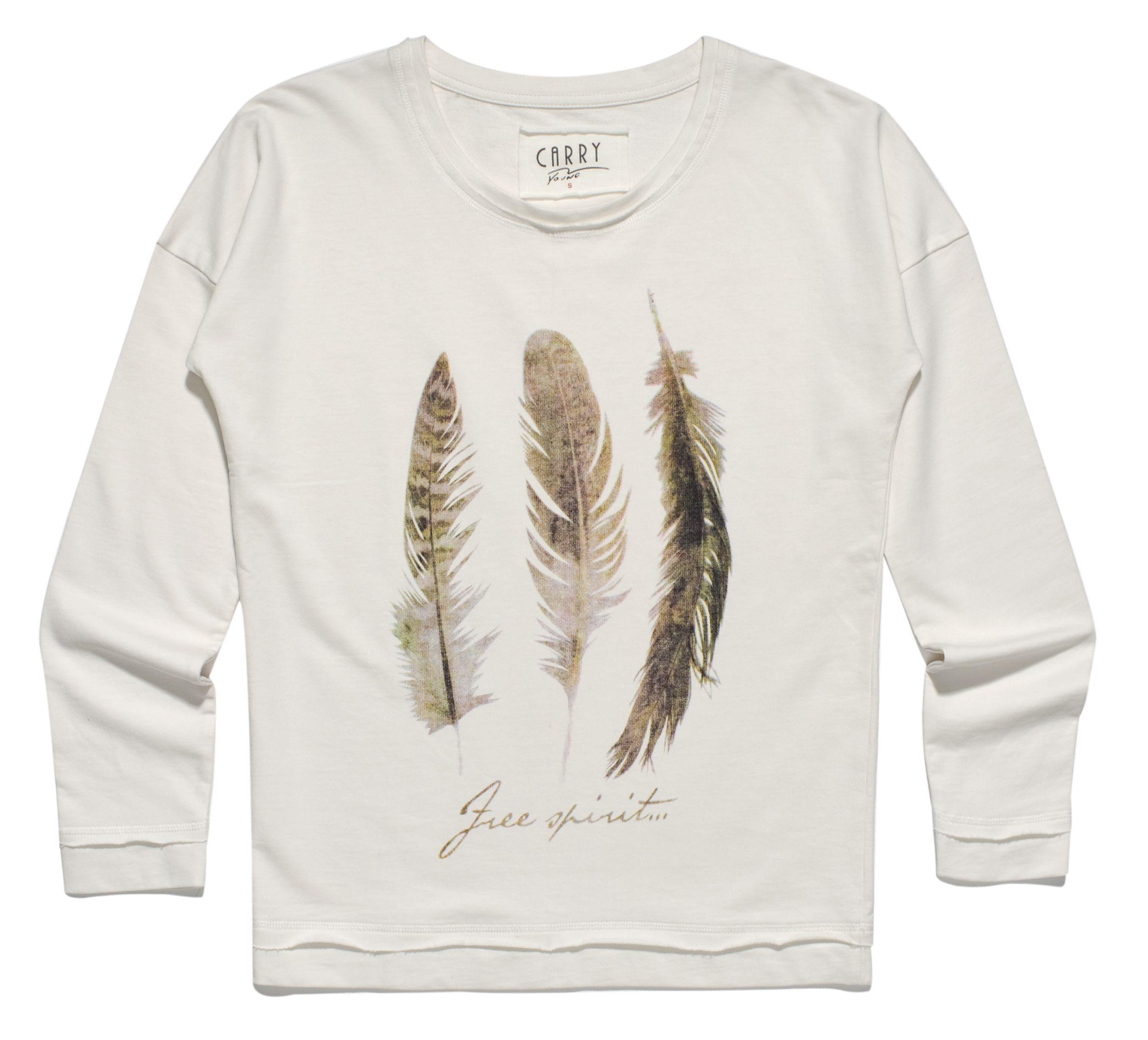 kremowa bluza z trzema piórkami