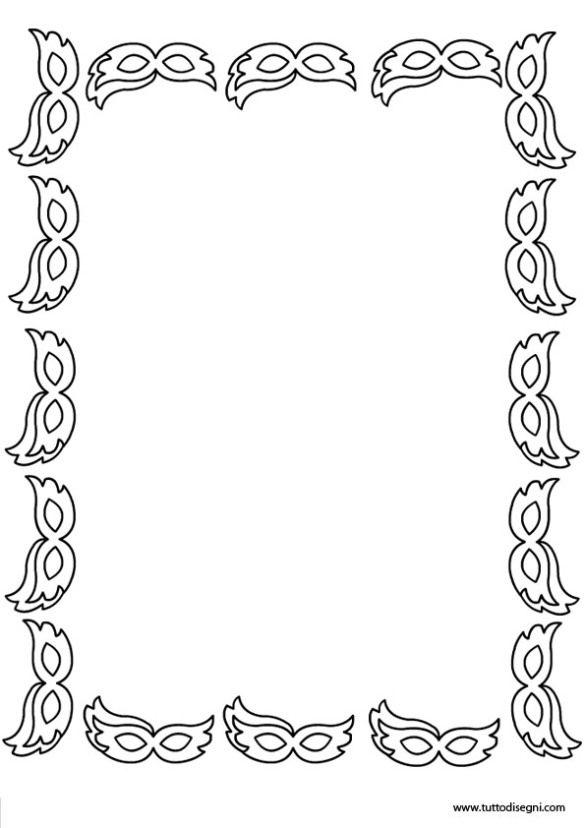 Cornici Disegno Bianco E Nero.Cornicetta Di Carnevale In Bianco E Nero Carnevale Scuola