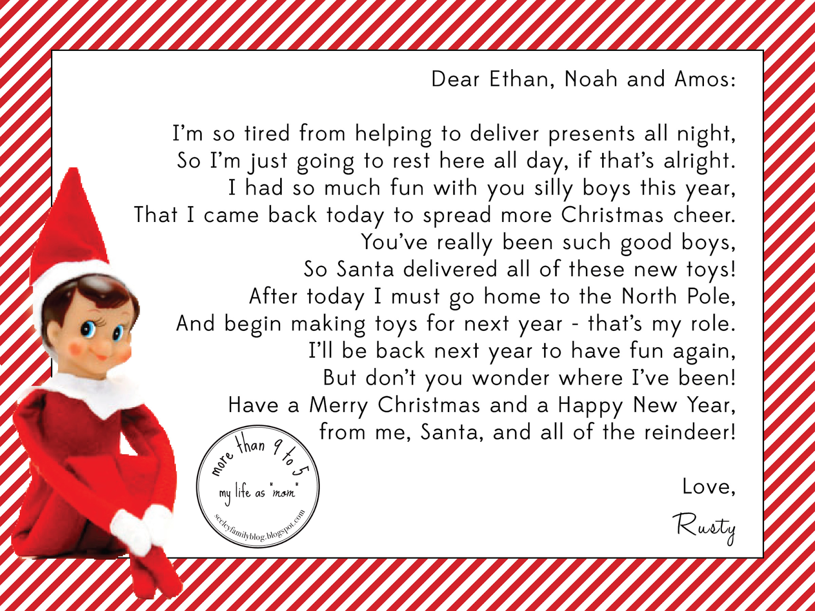 "more than 9 to 5...my life as ""Mom"" elf on the shelf"
