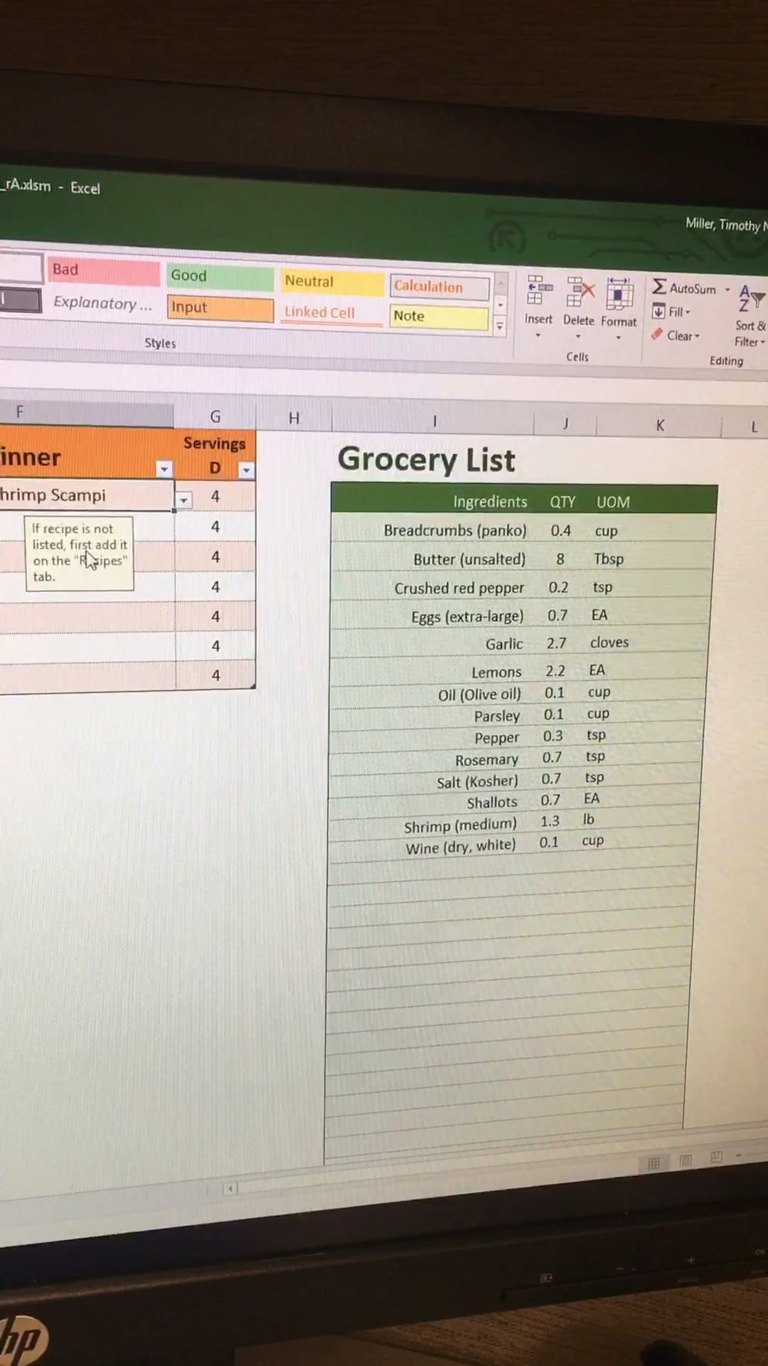 Grocery List Generator in Excel
