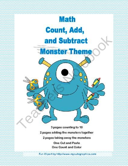 Cut, Paste, Count, Add, and Subtract Printable Worksheets-Monster ...