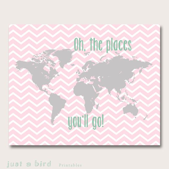 Baby girl nursery decor pink grey nursery decor oh the places you baby girl nursery decor pink grey nursery decor oh the places you will go world map nursery girls room decor instant download gumiabroncs Images