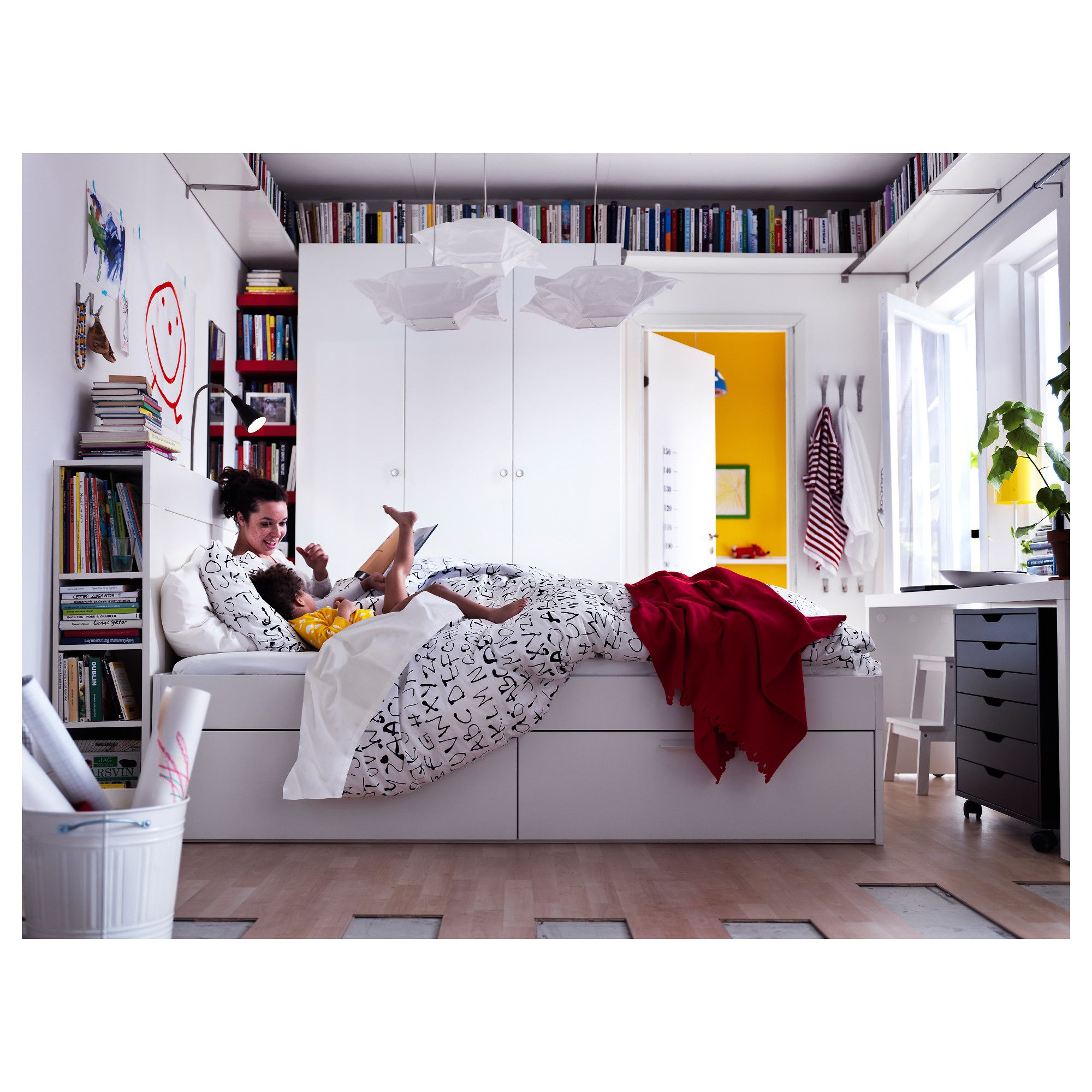 BRIMNES Bed frame w storage and headboard White/luröy Standard ...