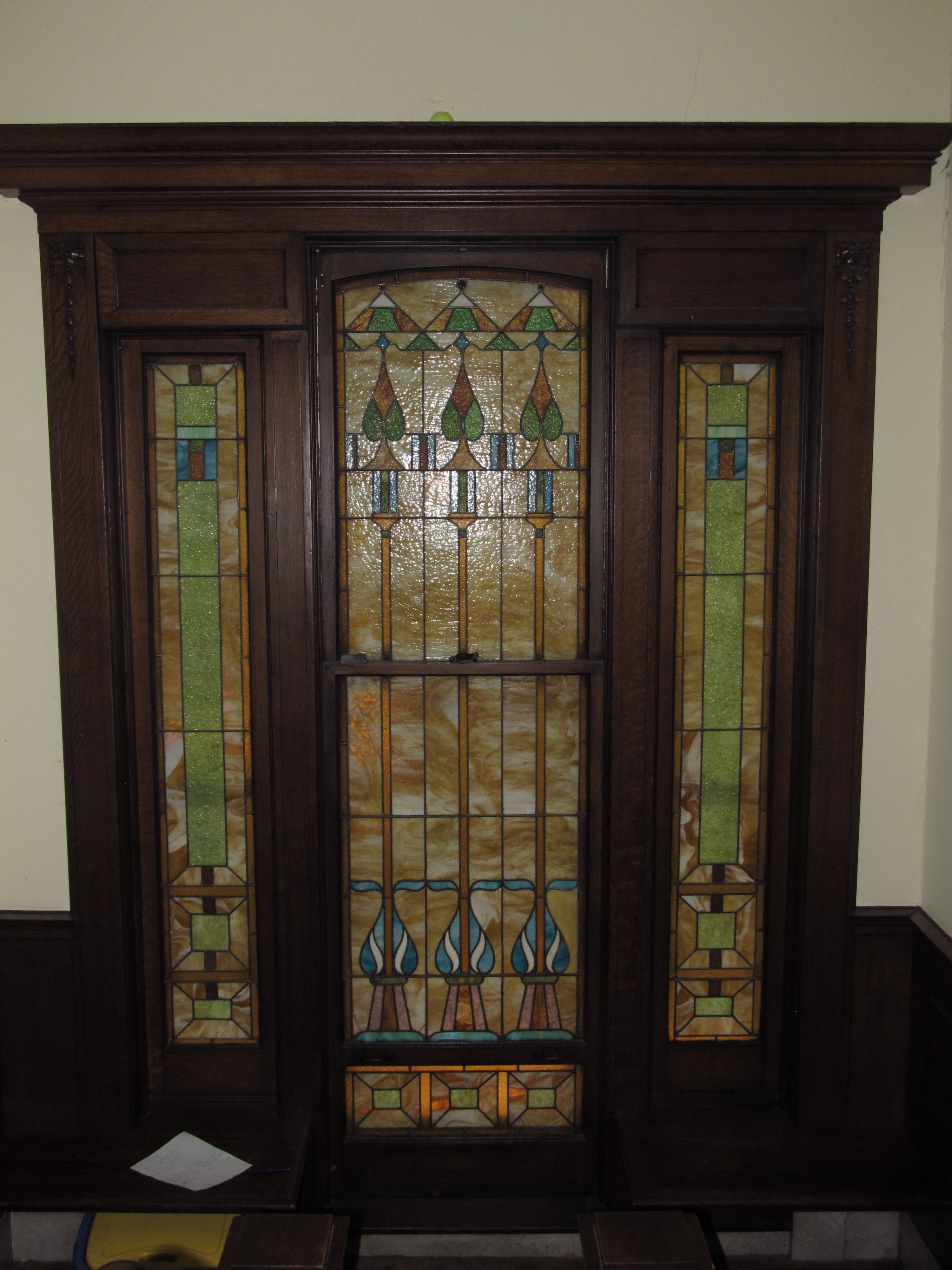 Restoration To Stained Glass Door Built 1890s Art Glass Creations