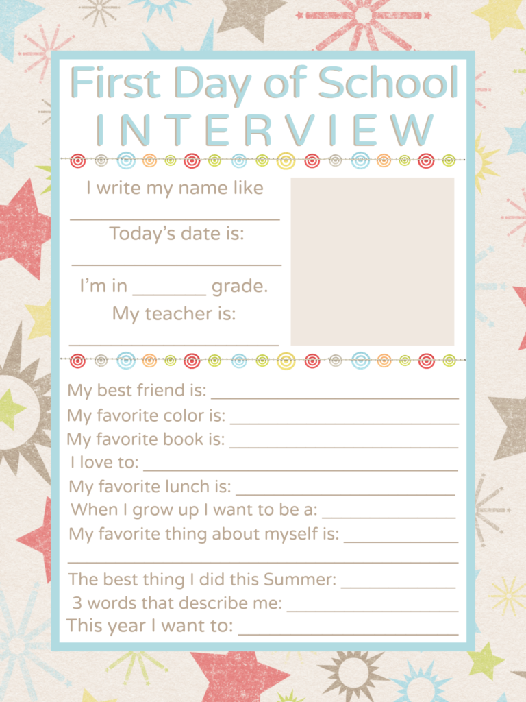 First Day of School Interview Printable #firstdayofschoolsign