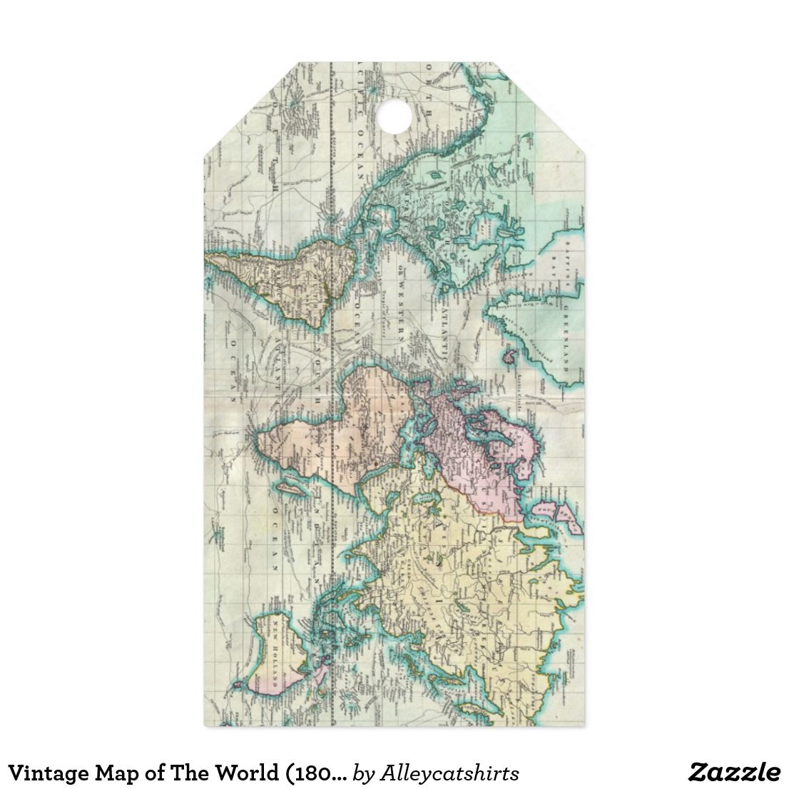 Vintage map of the world 1801 gift tags vintage maps gift and vintage map of the world 1801 gift tags gumiabroncs Image collections