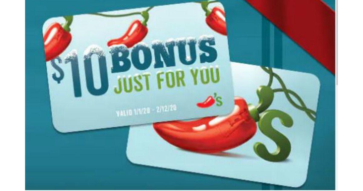 Buy a 50 chilis gift card get a 10 bonus gift card