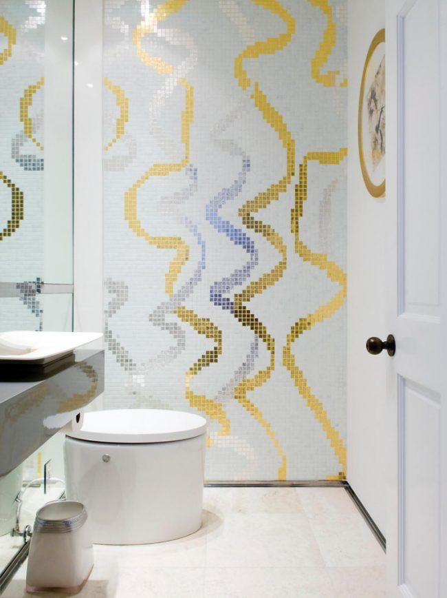 Mosaik Fliesen Badezimmer Weiss Gold Hochglanz Silber Klo