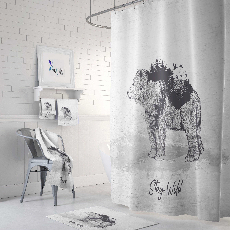 Rustic Bear Shower Curtain Woodland Primitive Country Bathroom
