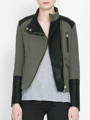 Very nice jacket for woman. #women #fashion #jacket #coat  - PU Patchwork Coats Motorcycle Fashion Coats for Women DCD-279917 - MiniTake